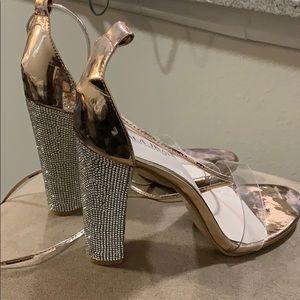 rose gold sparkling heels